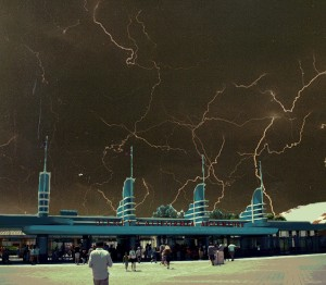 A composite image of the storm, from the perspective of the less adventurous hotel guests.