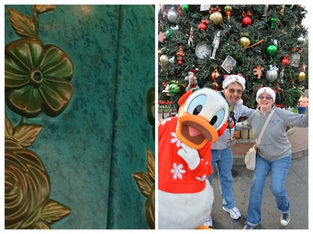 On the left: Can you guess where you might find this at the Disneyland Resort? We did! (After much help and many hints…) On the right: Three of our favorite people. Images courtesy Doug and Becky Kranz